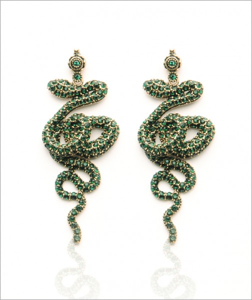 Bronze Snake Earrings Encrusted with Green Cubic Zirconia