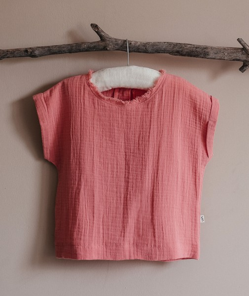 Cropped Sleeve Children's T-Shirt Salmon Pink