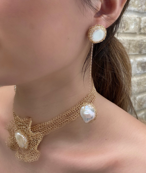 Flora 14K Gold-filled Freshwater Baroque Pearl Choker with detachable brooch