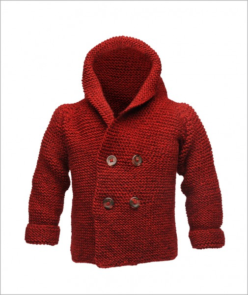 Cardigan with Hood Mottled Red