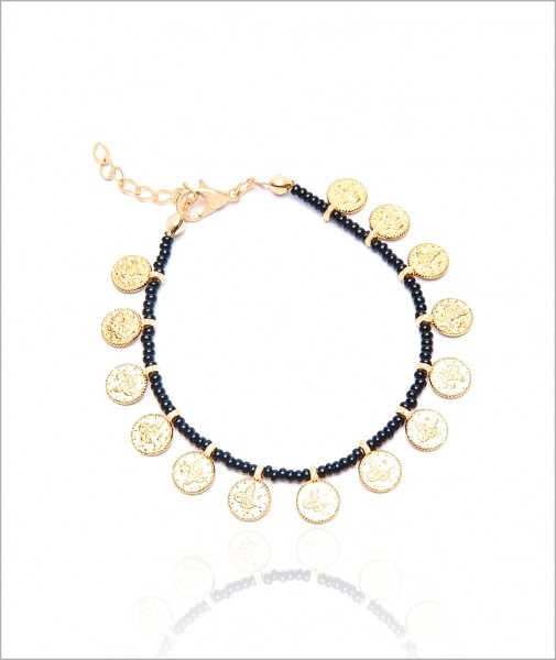 Mini Pearls Bracelet With Coins