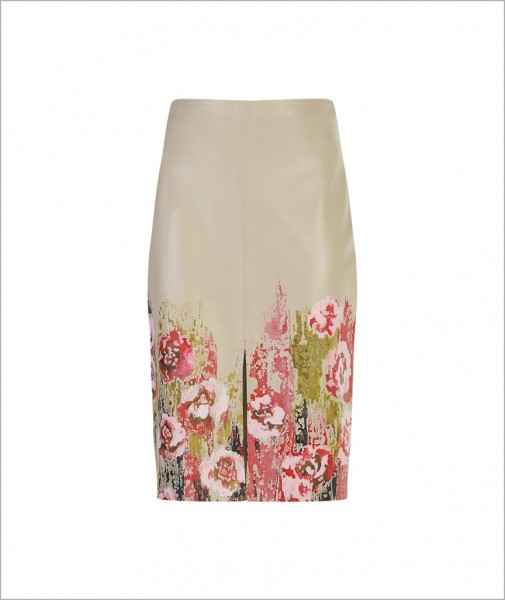 Hand-painted Flower Detailed Leather Skirt