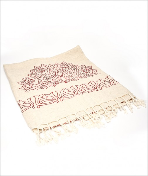 Peshtemal Wood Printed Linen with Red Pattern