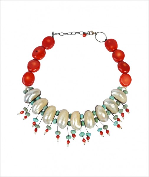 Necklace Pearl Coral Turquoise