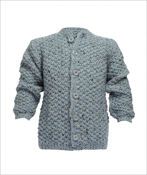 Cotton Cardigan Mottled Blue