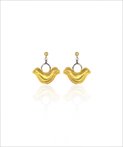 Two-headed Bird Earrings Gilded