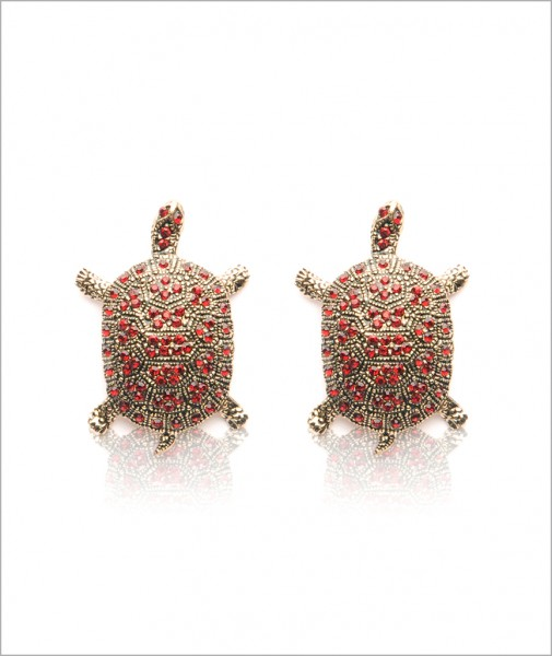 Bronze Turtle Earrings Encrusted with Cubic Zirconia