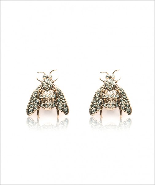 Bronze Bee Earrings Encrusted with Cubic Zirconia