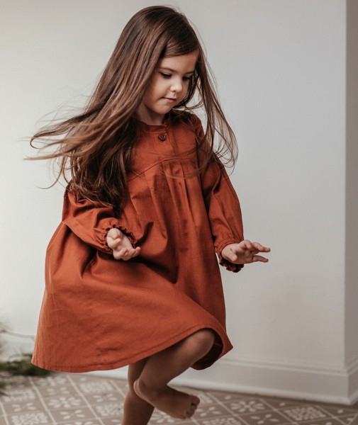 Children's Dress With Pleated Sleeves Brick Red