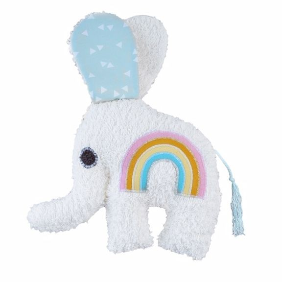 Elephant Rattle with rainbow application