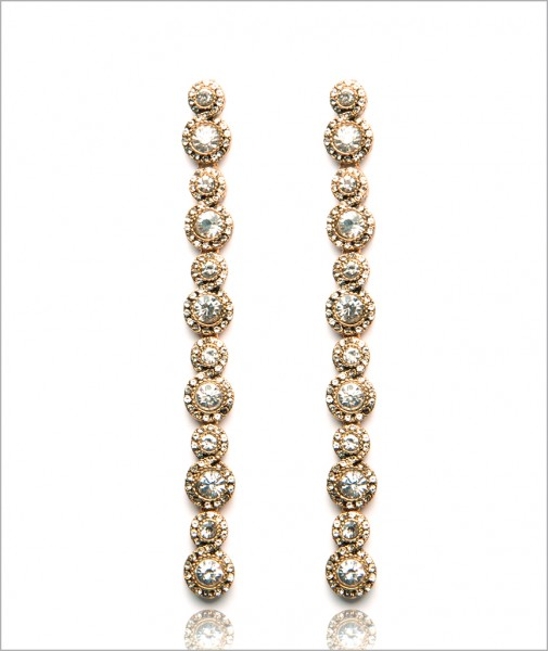 Bronze Lets Party Earrings Encrusted with Cubic Zirconia