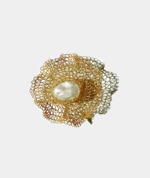 Flora 14K Gold-filled Freshwater Baroque Pearl Brooch