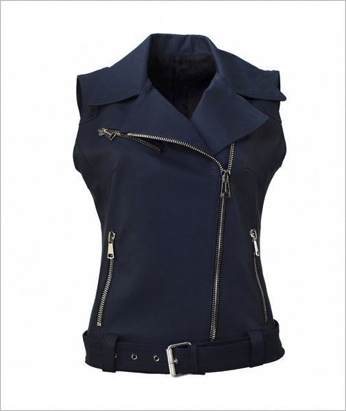 Leather Vest Navy Anna