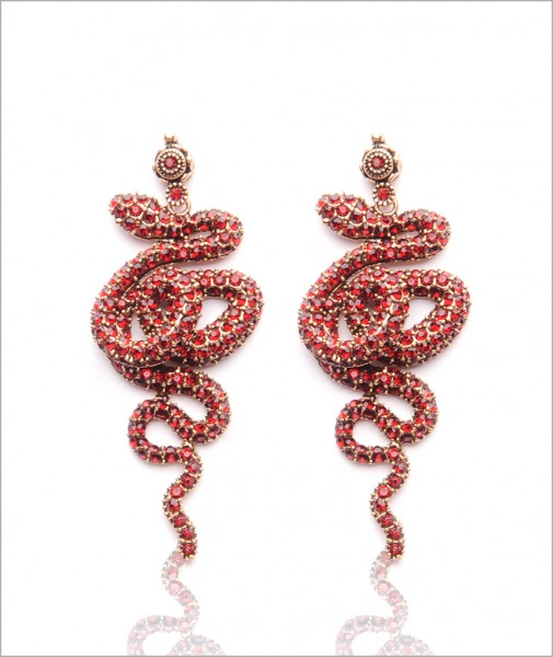 Bronze Snake Earrings Encrusted with Red Cubic Zirconia