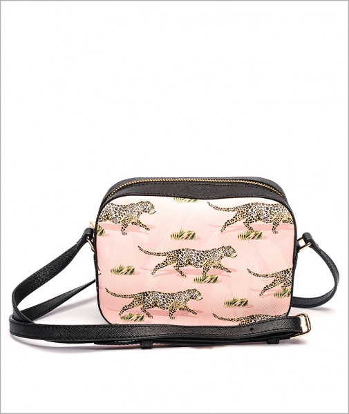 Navi Bag in Leopard Pink/White