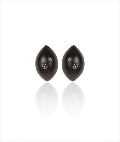 Ebony Earrings with Two Stones