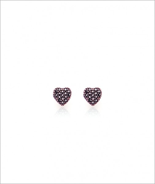 Designed With Stones Heart Stud Earrings