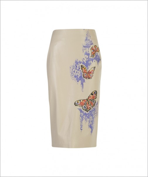 Hand-painted Butterfly Leather Skirt