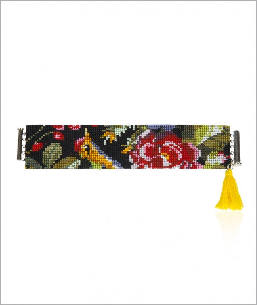 Woven Cuff with Yellow Tassel