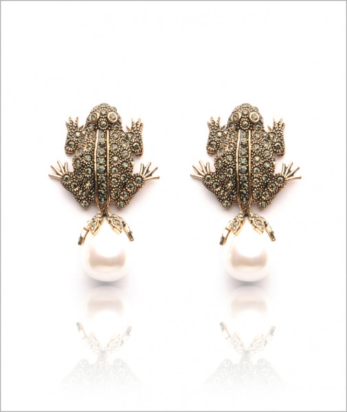 Bronze Frog Earrings Encrusted with Cubic Zirconia