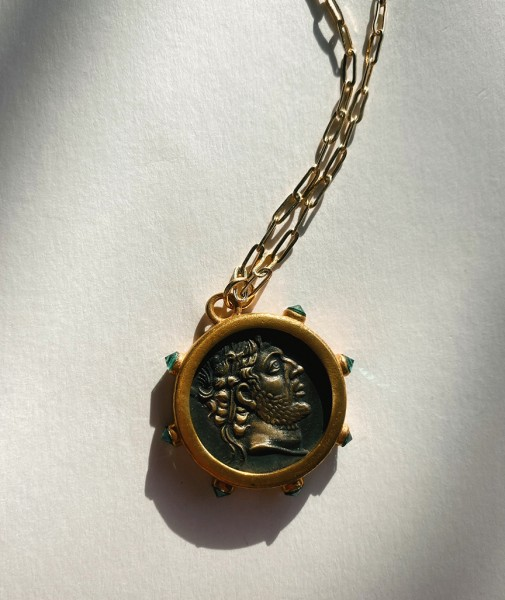 Medallion Necklace With Emerald